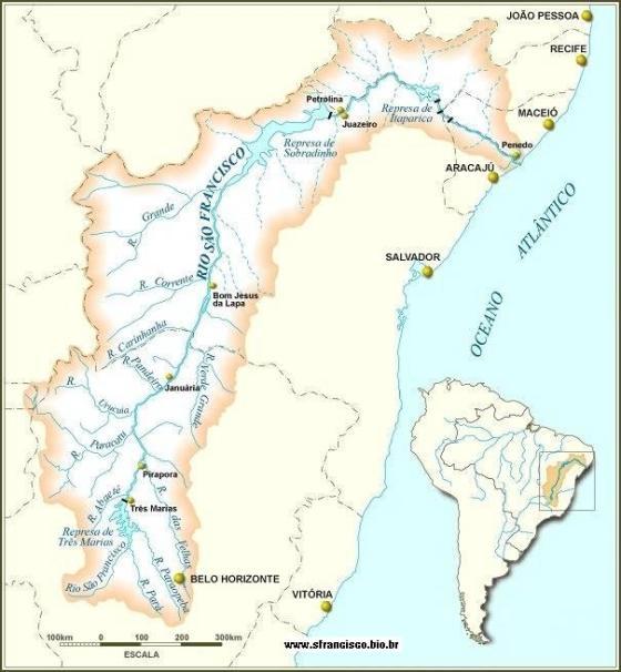 Mapa do Rio São Francisco